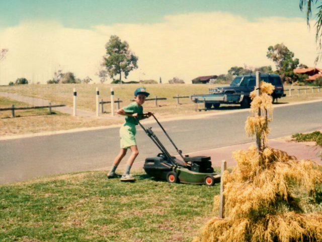 Luke mowing